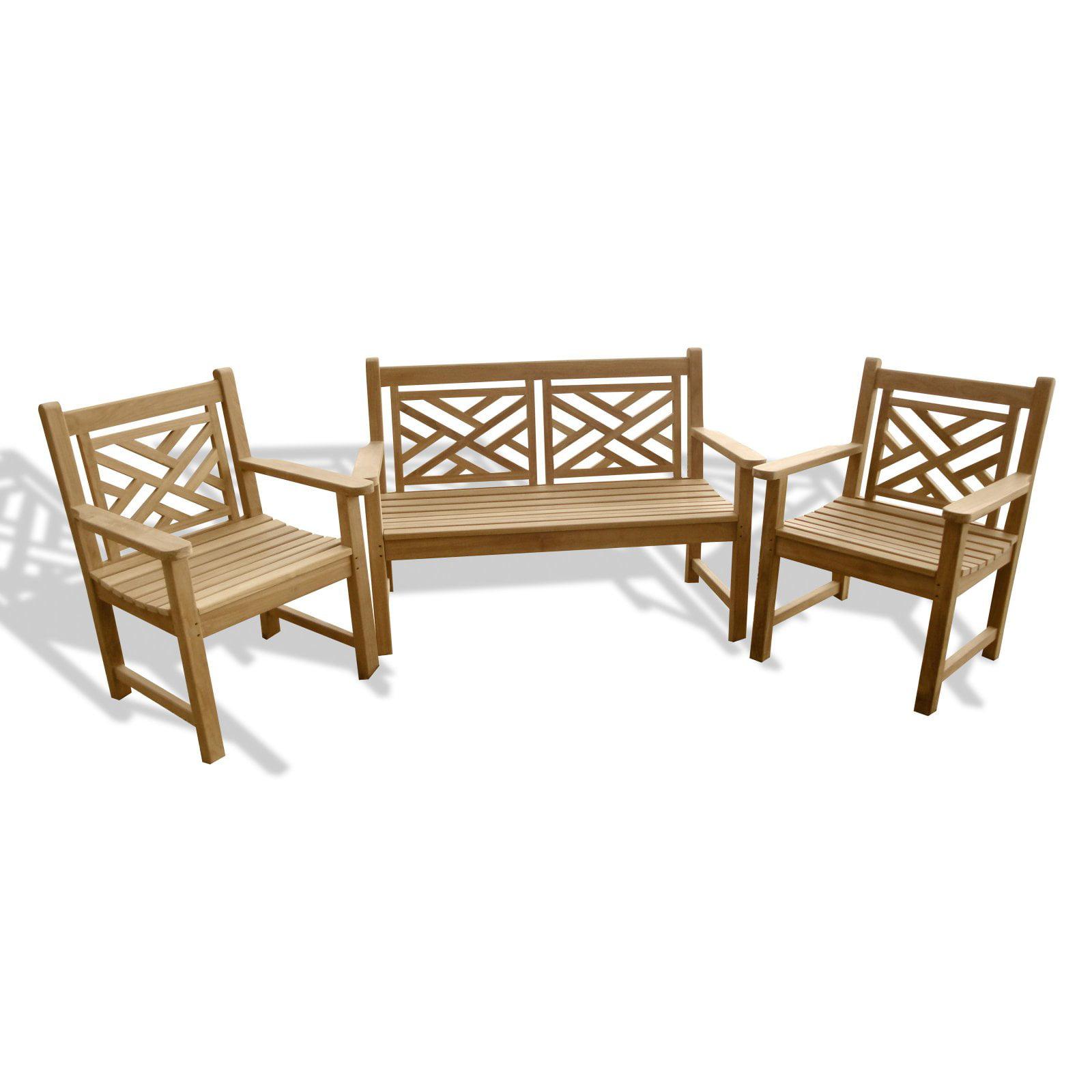 Windsor Teak Furniture Chippendale Teak 3 Piece Outdoor Conversation Set by Windsor Teak Furniture