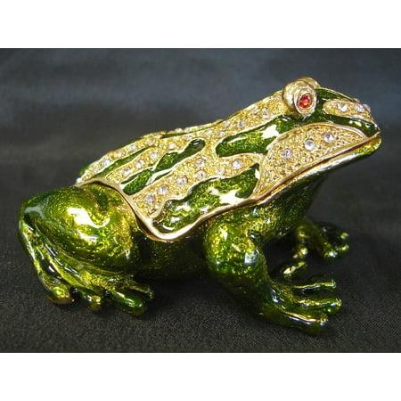Bejeweled Metal Money Frog