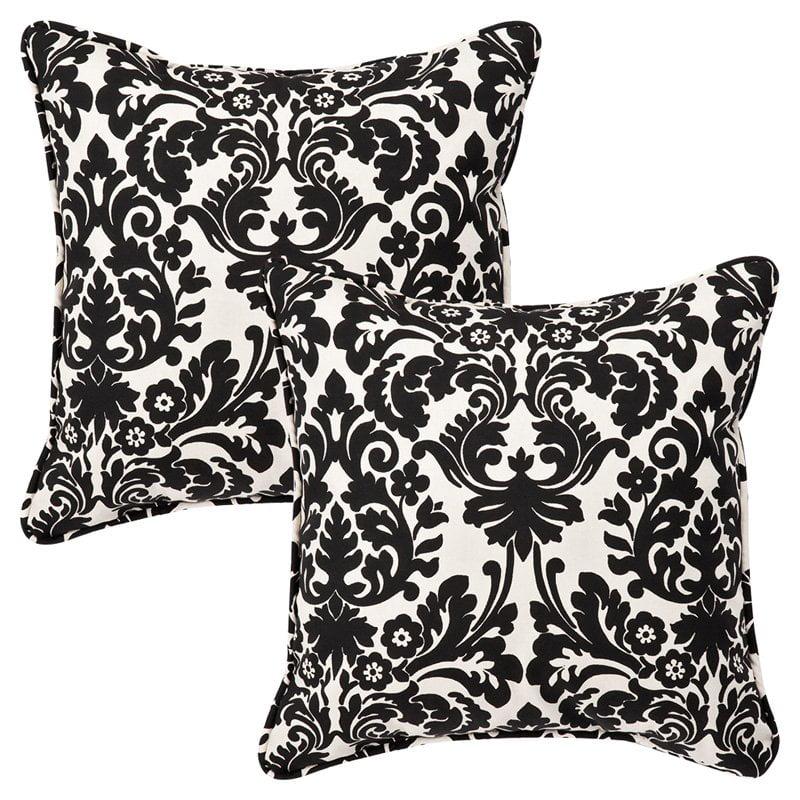 Pillow Perfect Outdoor/ Indoor Essence Black|Beige 18.5-Inch Throw Pillow (Set of 2)