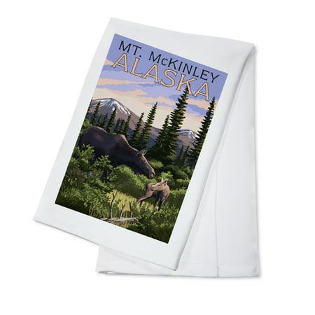 Mt Moose - Mt. McKinley, Alaska - Moose and Calf - Lantern Press Poster (100% Cotton Kitchen Towel)