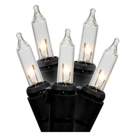 LiteSource 04100 - 100 Light 33.7' Miniature Black Wire Clear Christmas Light String Set with 4