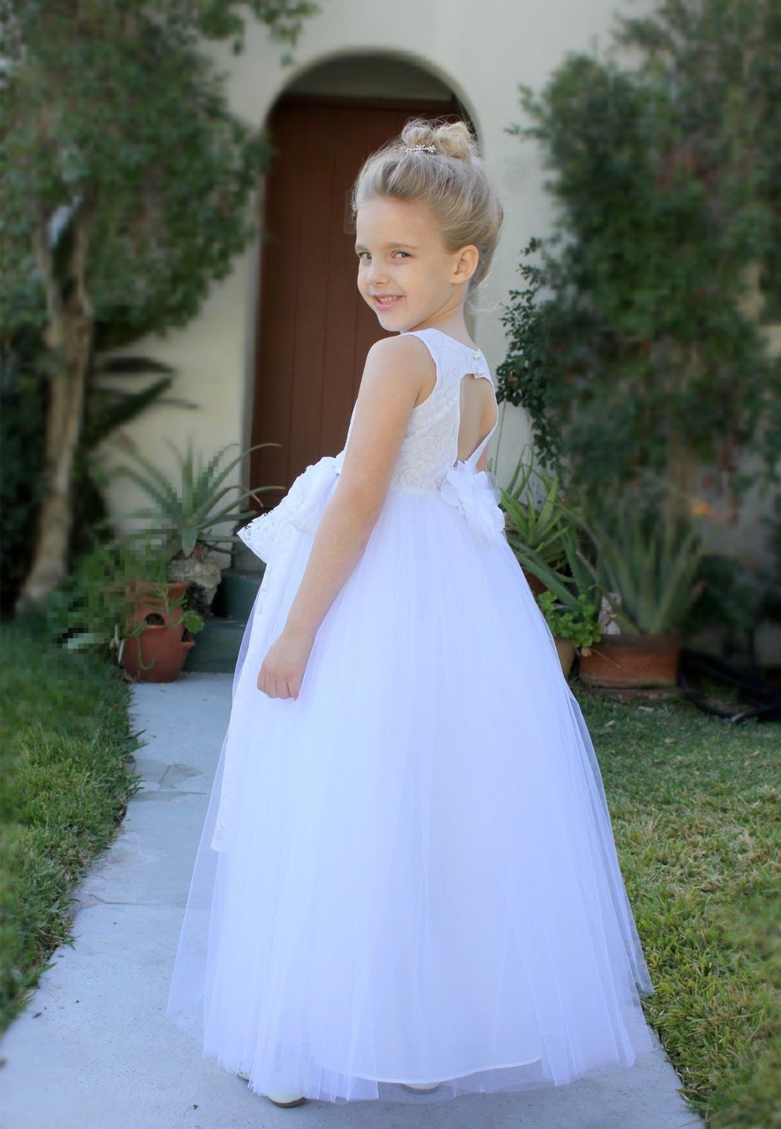 White Floral Lace Heart Cutout Flower Girl Dresses Christening Dresses 172T