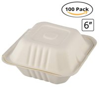 """CaterEco Bagasse Compostable Disposable Clamshell Box (100 Count) 