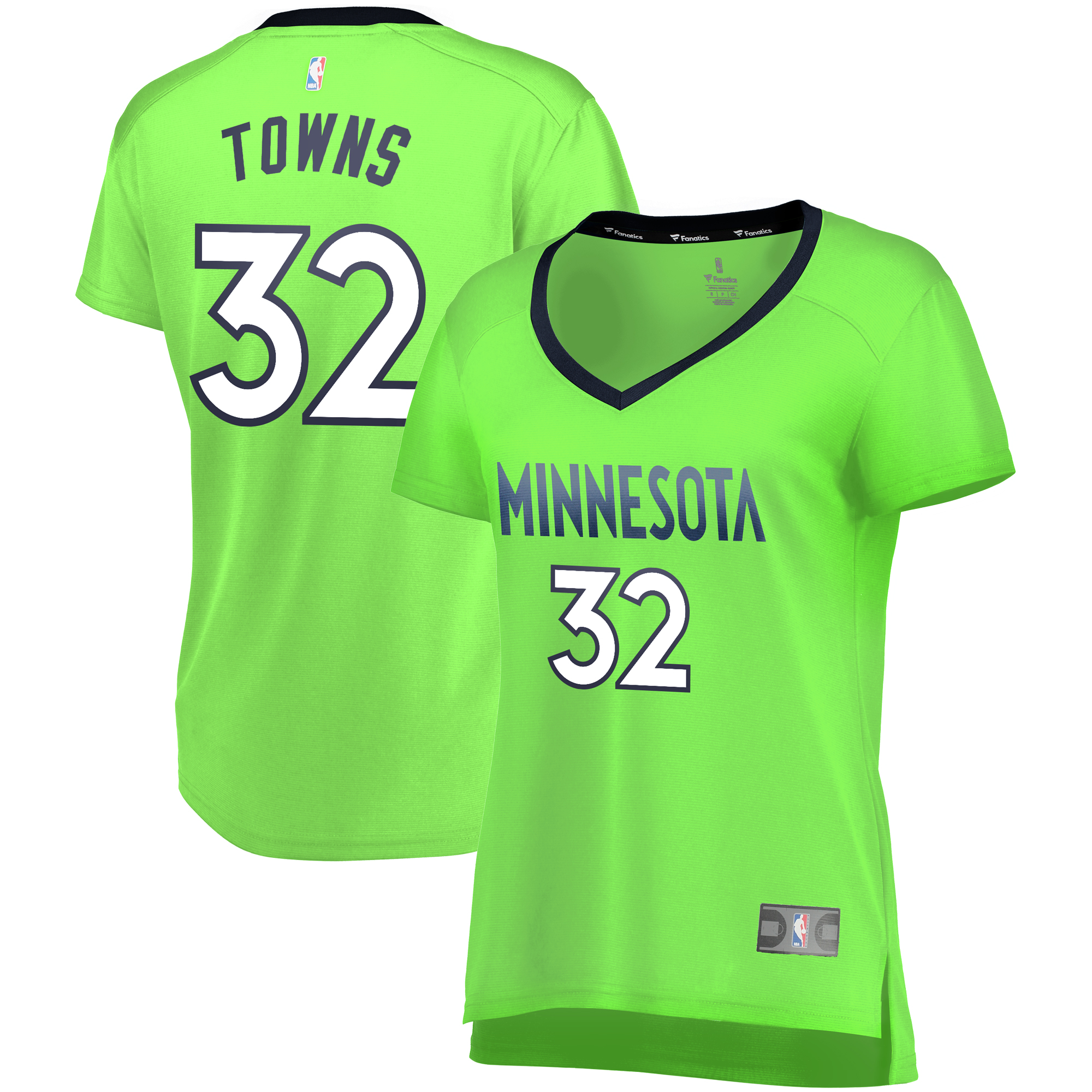 Karl-Anthony Towns Minnesota Timberwolves Fanatics Branded Women's Fast Break Replica Statement Edition Jersey - Neon Green