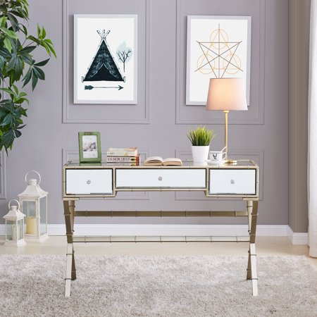 Southern Enterprises Leiro Hollywood Regency Mirrored Console Table Glam Style Champagne