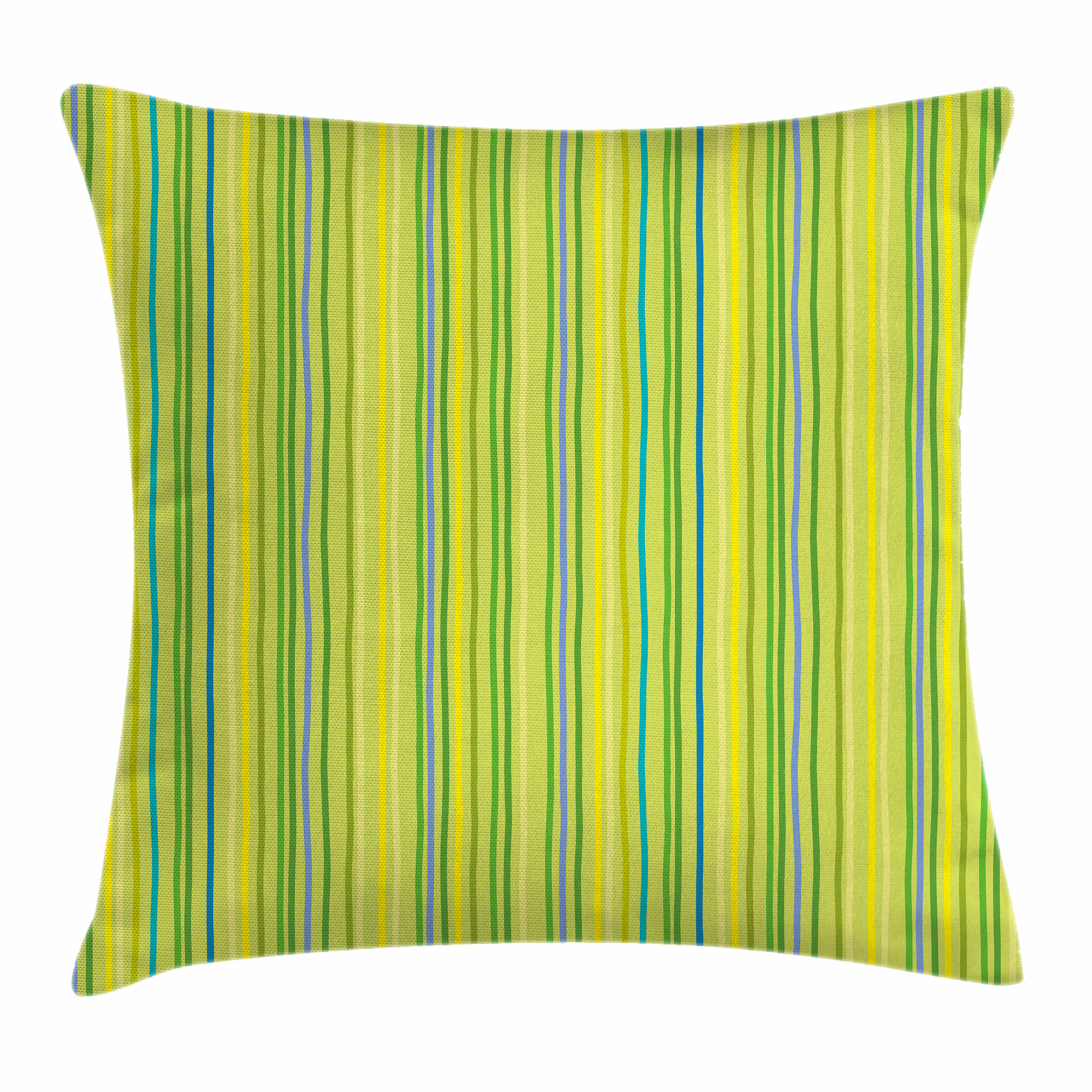 Lime Green Throw Pillow Cushion Cover Pastel Toned Vertical Bands