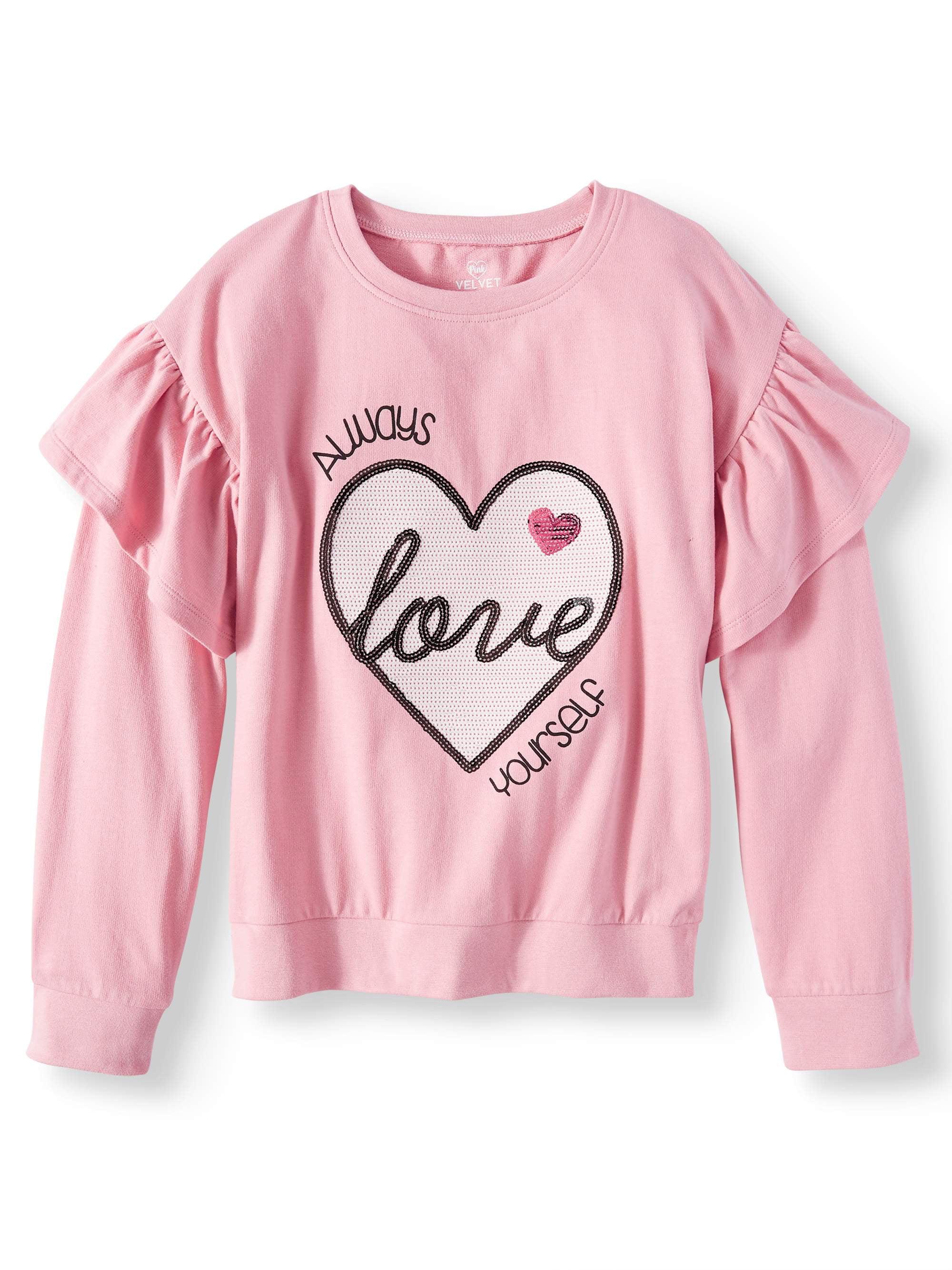 Sequin Graphic Ruffle Sleeve Sweatshirt (Little Girls & Big Girls)