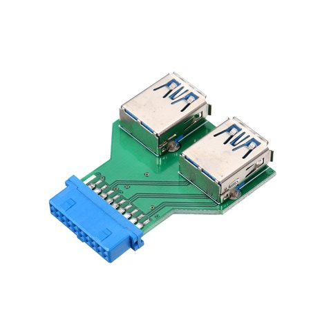 20Pin to Dual USB3.0 Adapter Connverter Desktop Motherboard 19Pin/20Pin Header to 2 Ports USB 3.0 A Female Connector Card Reader - image 1 de 7