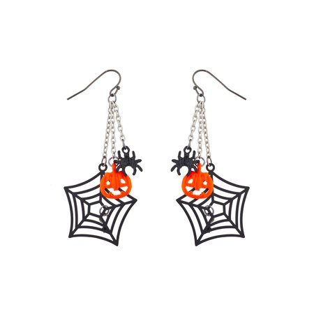 Lux Accessories Silver Tone Halloween Spider Web Chain Pumpkin Spider Earrings (Spider Web Turquoise Earrings)