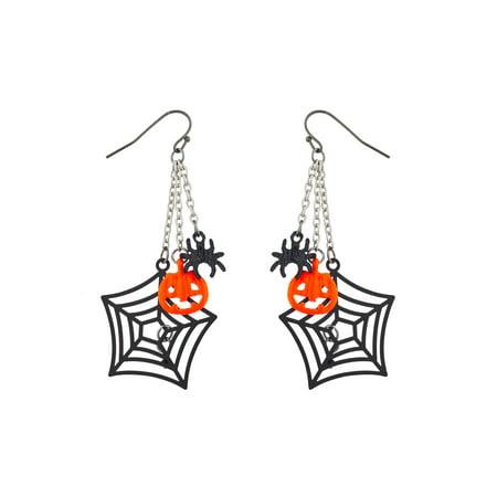 Lux Accessories Silver Tone Halloween Spider Web Chain Pumpkin Spider Earrings
