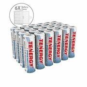 Combo: 24 pcs Tenergy Premium AA 2500mAh NiMH Rechargeable Batteries + 6 AA Size Holders
