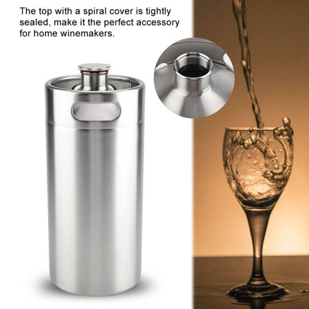 WALFRONT 4L Beer Barrel with Spiral Cover,4L Mini Stainless Steel Beer Barrel with Spiral Cover Lid Practical Home Hotel Supplies,Mini Beer Barrel - image 5 of 8
