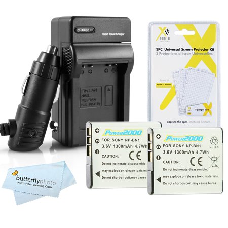 NP-BN1 For Sony Cybershot Two (2) Pack Batteries and External NPBN1 In-Wall AC/DC Battery Charger for Sony Cybershot DSC Series DSC-W830, DSC-W810 and DSC-W800 Digital Point and Shoot (Sony Cyber Shot Dsc W170 Battery Charger)