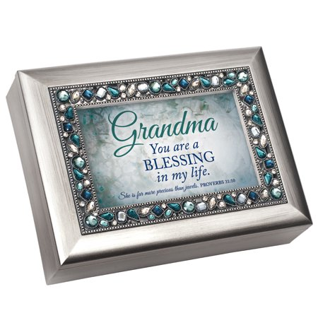 """8"""" Gray and Green """"Grandma a Blessing in My Life"""" Printed Music Box"""
