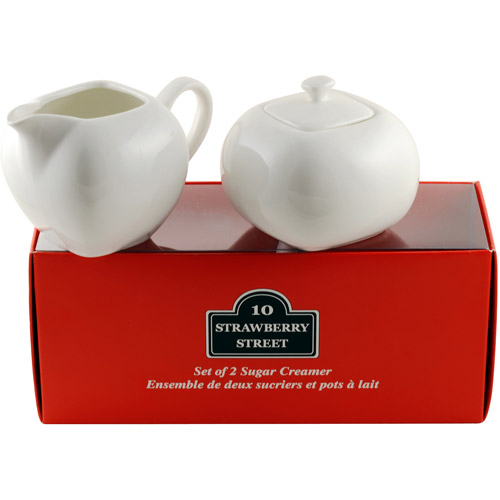 "10 Strawberry Street Tid Bit Set, Red Box 3.25"", 3 oz Milk Jug and Sugar Pot Set, White"