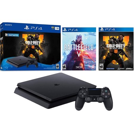 PlayStation 4 Call of Duty Black Ops 4 PS4 Slim Battlefield Bundle: Call of Duty Black Ops 4, Battlefield V and PlayStation PS4 Slim 1TB HDR Gaming Console with Dualshock 4 Wireless Controller