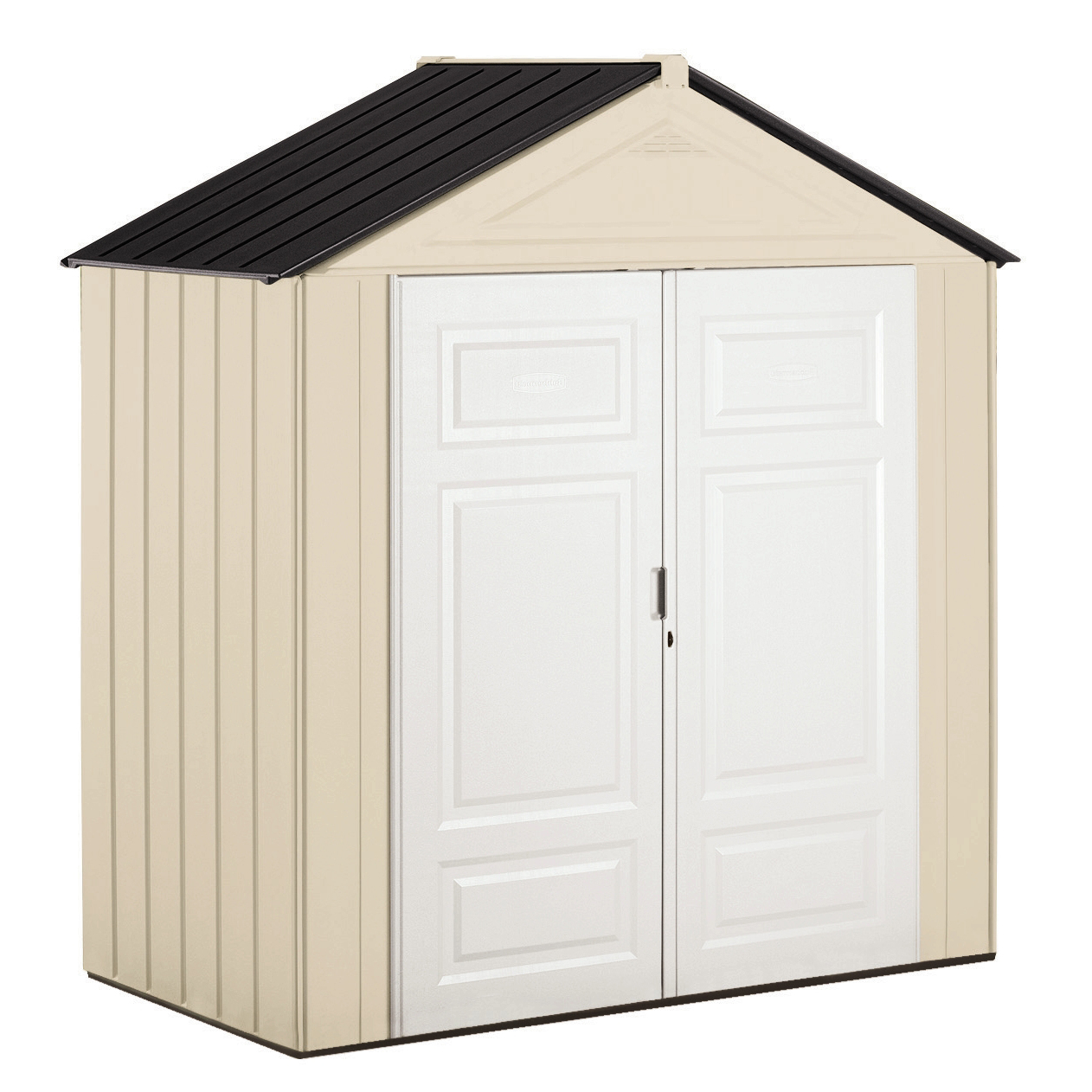 Rubbermaid 3 x 7 ft Resin Storage Shed, Sandstone & Onyx