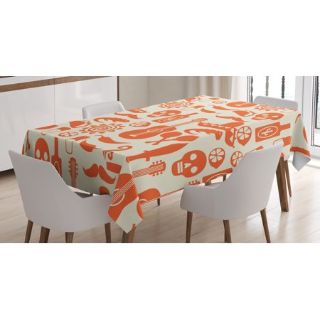 Mexican Tablecloth, Ethnic South American Culture Sombrero Mariachi Hats Skulls Guiatar Tacos Print, Rectangular Table Cover for Dining Room Kitchen, 60 X 84 Inches, Cream Orange, by Ambesonne