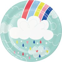 Club Pack of 96 Teal Blue and White Over the Rainbow Desserts Round Plates 6.8""