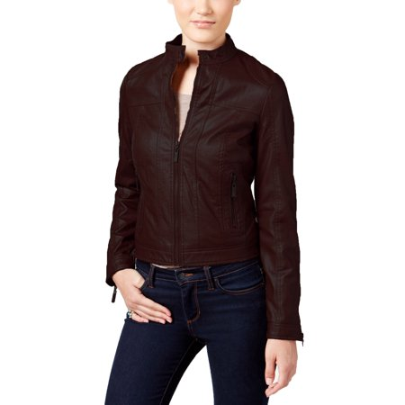 5572e9016 Jou Jou - Jou Jou Juniors' Faux-Leather Moto Jacket (Walnut, Medium ...