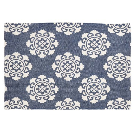 Denim Blue Farmhouse Flooring Ceylon Cotton Latex Backing Distressed Appearance Enzyme Washed Medallion Rectangle Accent Rug