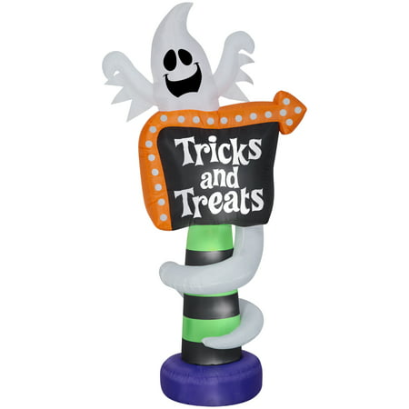 Halloween Airblown Inflatable Ghost Trick-or-Treat Sign 8FT Tall by Gemmy - Halloween Inflatable Haunted Tree