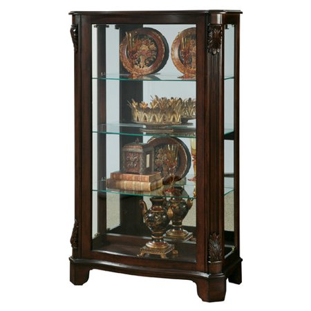 Cherry Carved Curio Cabinet - Canora Grey Akerman Mantel Lighted Curio Cabinet