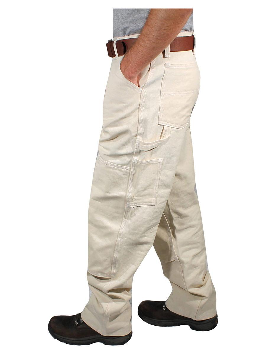 English Cotton White 44 x 32 Rugged Blue CSGPTWP1000025168-WHT-44X32 Double Knee Painters Pants