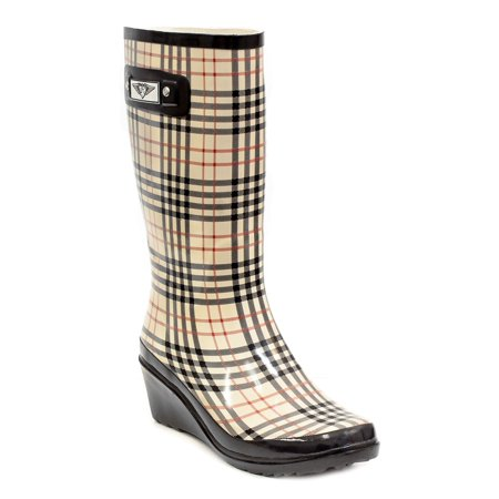 Women Checkers Plaid Rubber Rain Boots, Wedge Heel Design w/ Cotton Lining (Womens Rubber Boot Liners)
