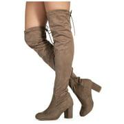 """Medium Calf"" Women's Over The Knee Chunky Heel Stretch Boots Black #19113"