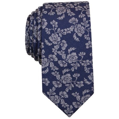 Bar III NEW Navy Blue One Size Montgomery Floral-Print Silk Neck Tie ()