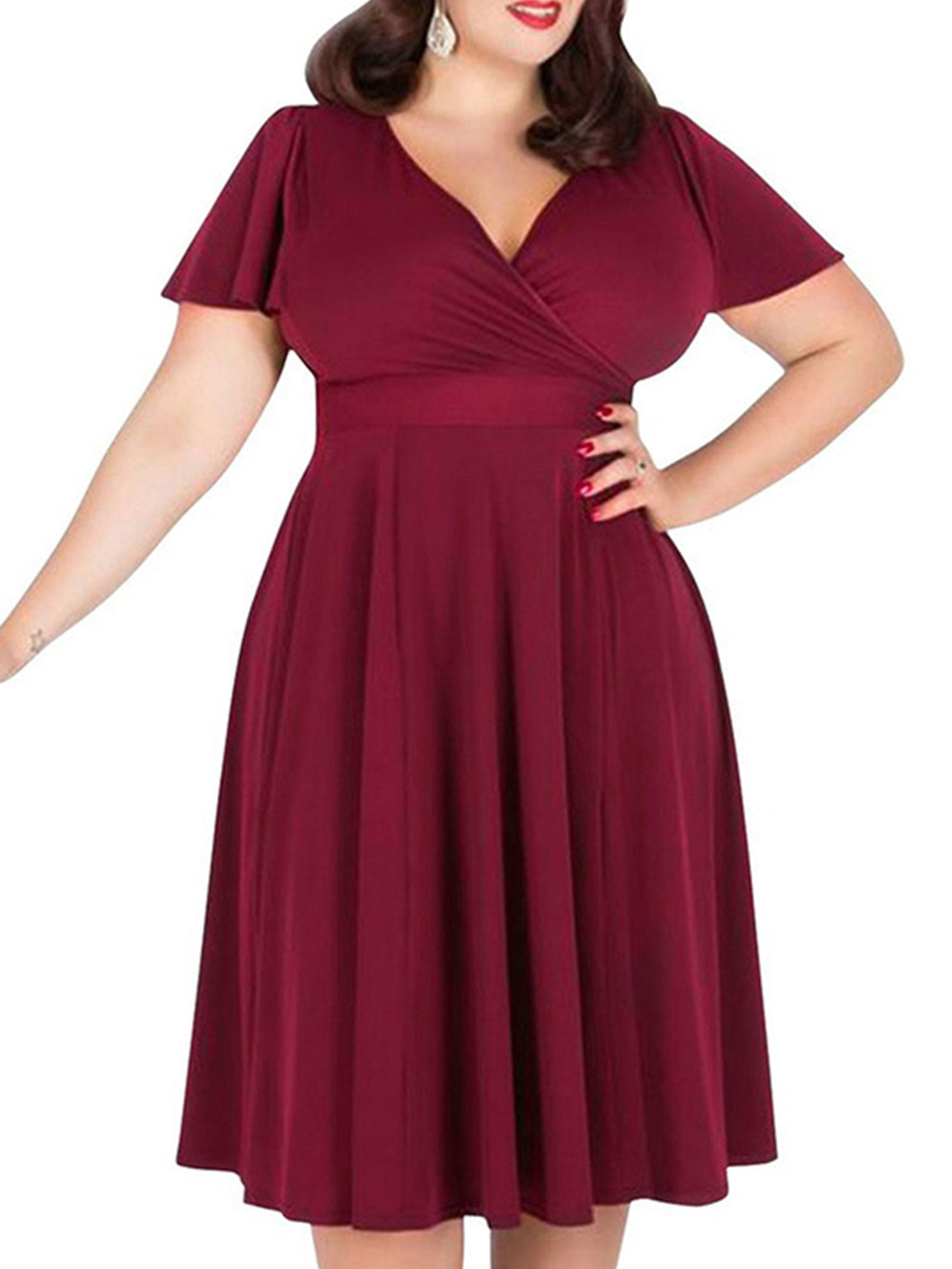9b1ac3dc38404 Fashion Women Big Plus Size Dress Sexy Ladies V-neck Burgundy Bubble Skirt  XL XXL 3XL 4XL 5XL Size12 16 18 20 22 - Walmart.com