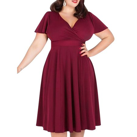 Fashion Women Big Plus Size Dress Sexy Ladies V Neck Burgundy Bubble
