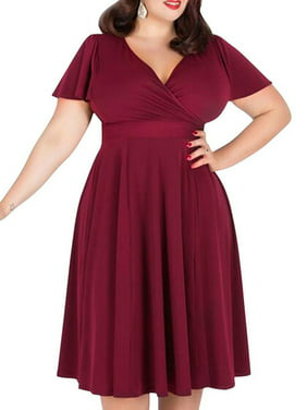 3f42a1123e0 Product Image Fashion Women Big Plus Size Dress Sexy Ladies V-neck Burgundy  Bubble Skirt XL XXL