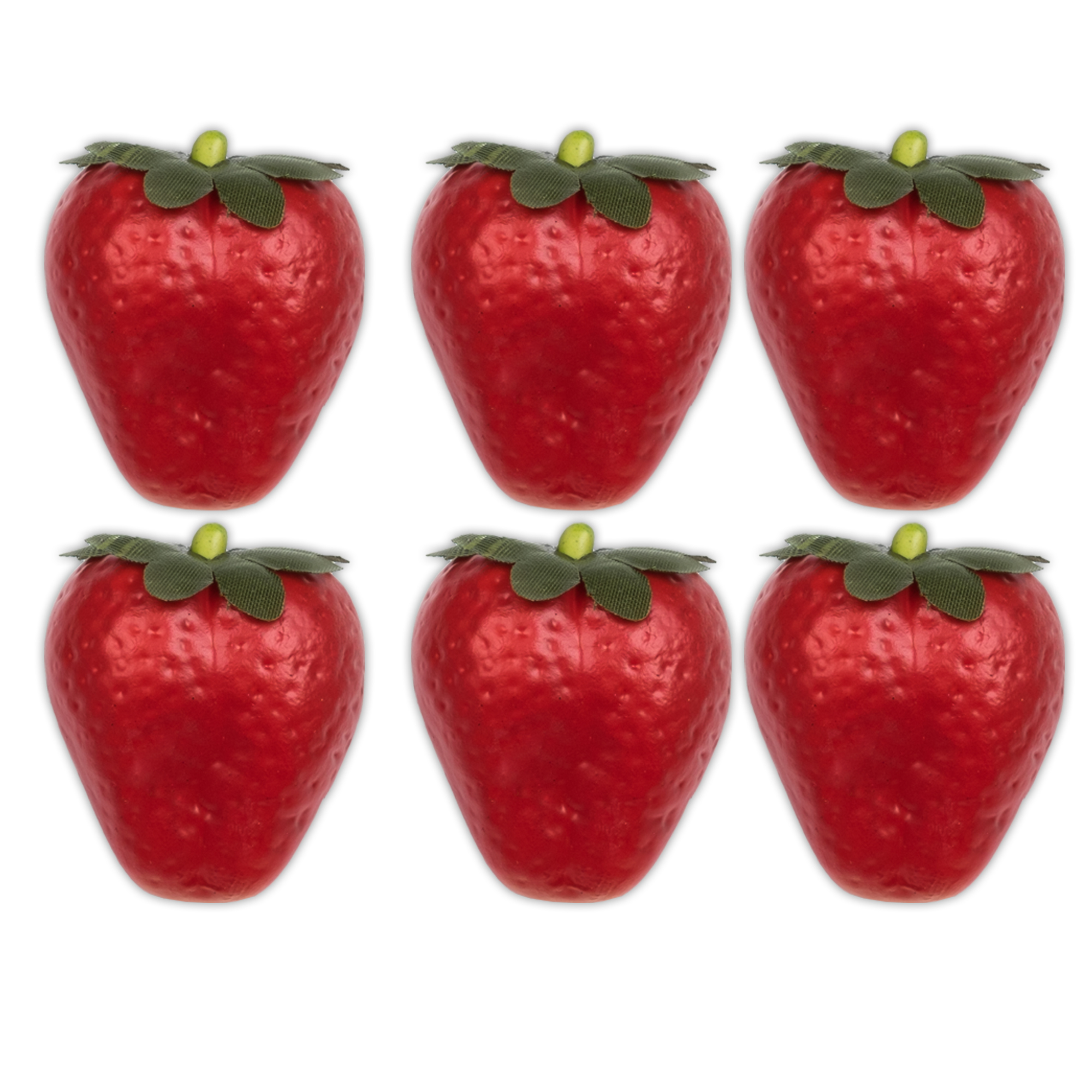 "Decorative Small 1.5"" Polystyrene Foam Artificial Strawberries Pack of 6"