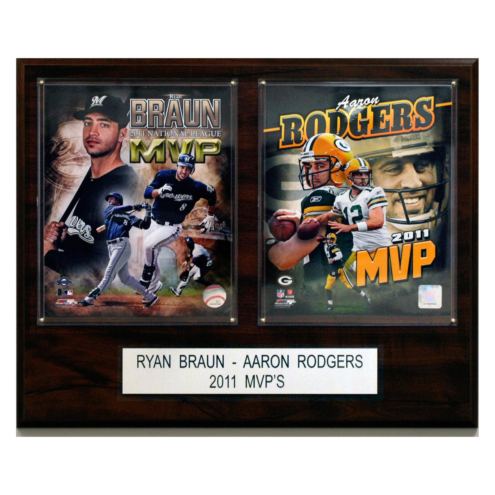 NFL Ryan Braun and Aaron Rodgers 2011 MVP 16 x 20 in. Player Plaque
