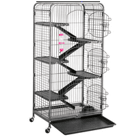 Yaheetech 52'' 6 Level Indoor Ferret Rabbit Small Animal Cage Hutch Black with 3 Front Doors