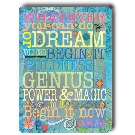 "ArteHouse Decorative Wood Sign ""Whatever You Can Dream"" by Artist Terry Kempfert, 14"" x 20"", Planked Wood"
