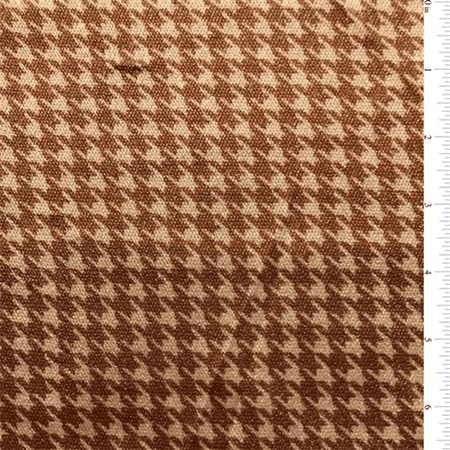 Ivory/Tobacco Houndstooth Nylon Knit, Fabric By the Yard