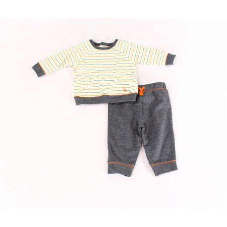 Heather Boy's Striped Fleece Pants Set 6 Months