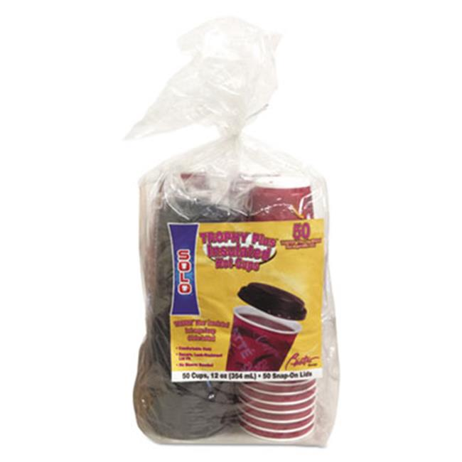Solo Cup FSX12 Bistro Hot-Cold Foam Cups With Lids, 12 oz.  Maroon