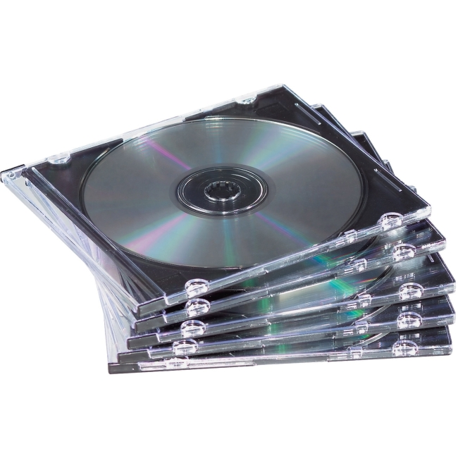 Fellowes Slim Jewel Cases - 25 pack - Jewel Case - Book Fold - Polystyrene - Clear, Black - 1 CD/DVD