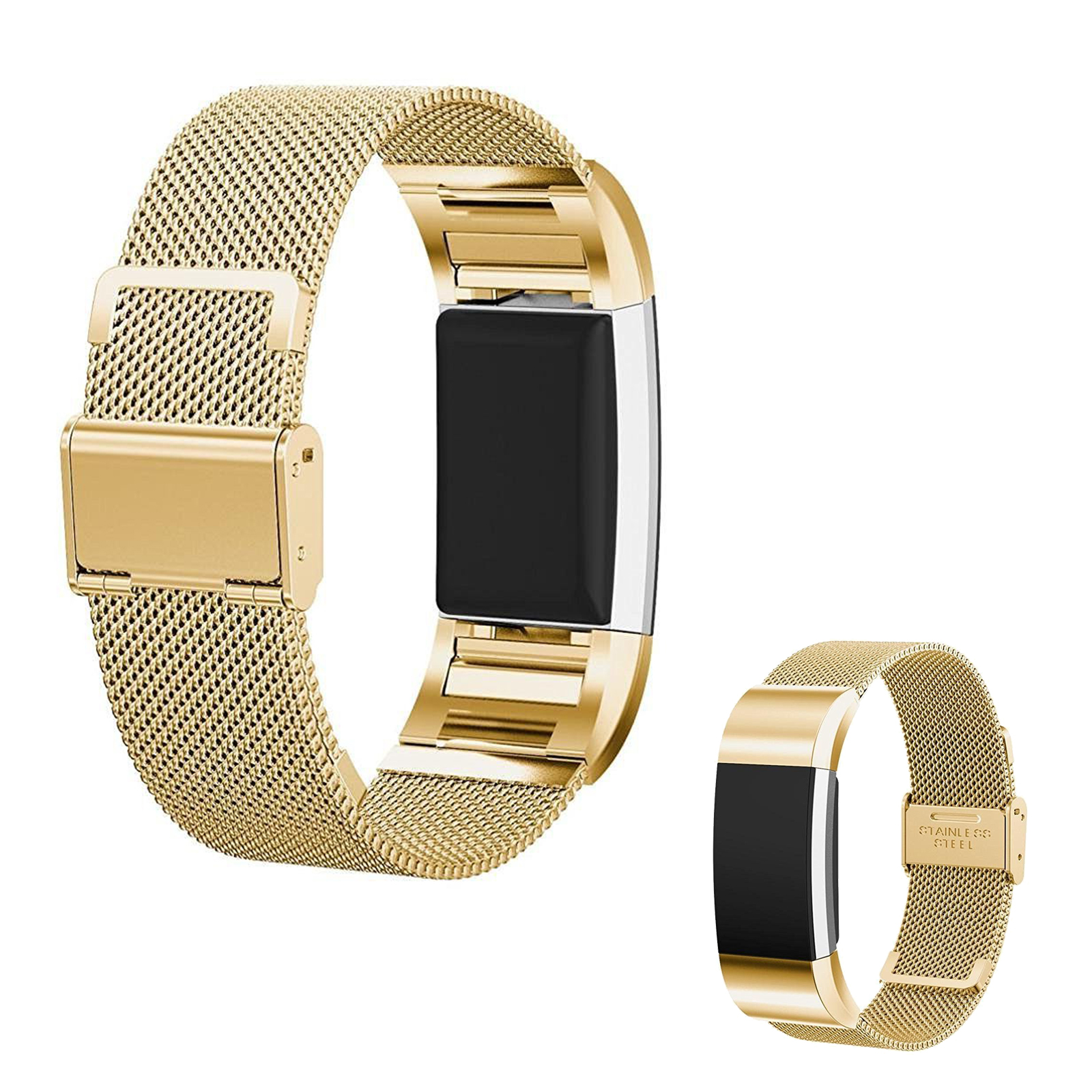 Luxury Milanese Stainless Steel Watch Band Loop Strap Clasp for Fitbit Charge 2(Gold)