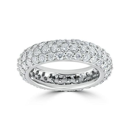 3ct  Womens Unique Pave Diamond Eternity Ring 14K White - Pave Diamond Eternity Ring
