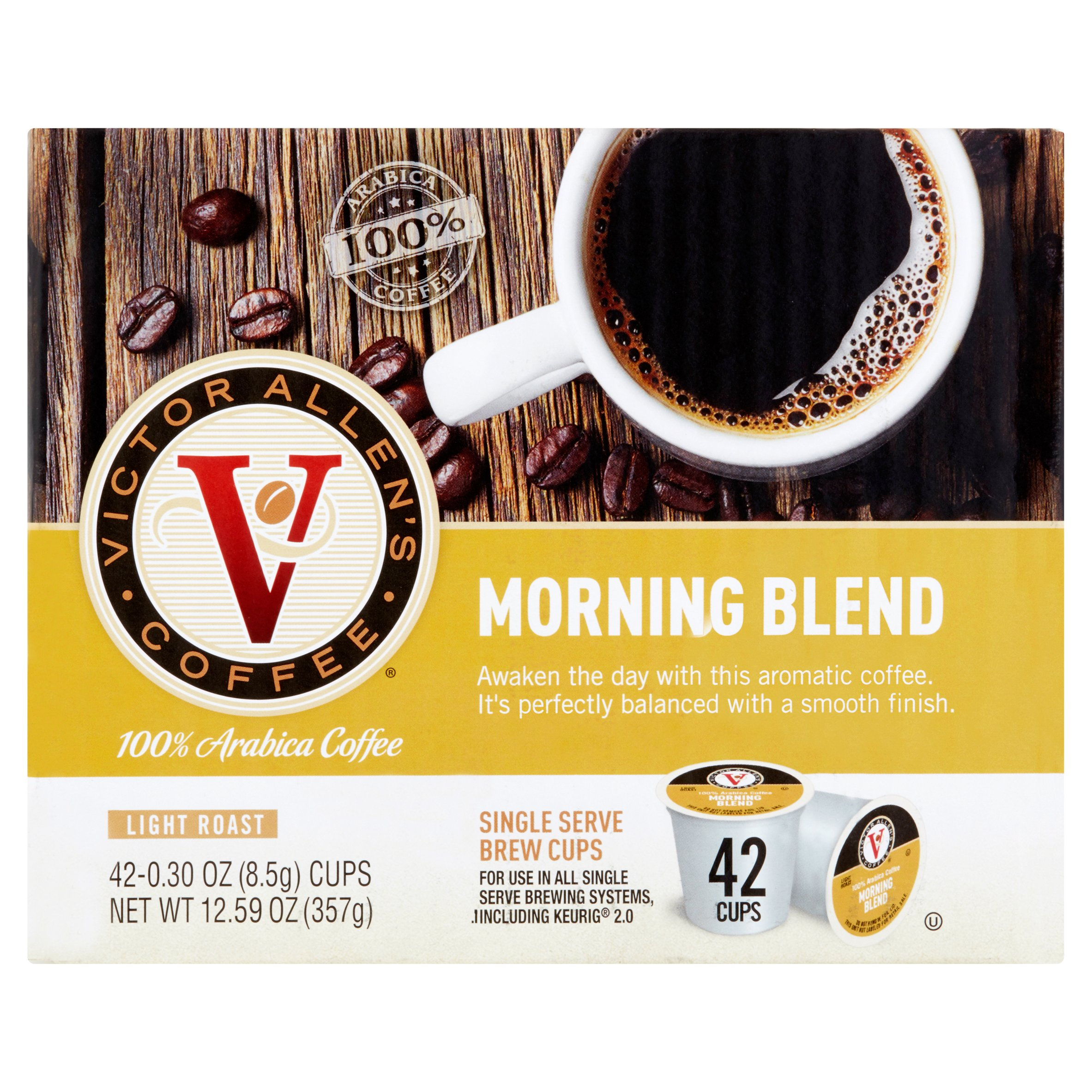 Victor Allen's Coffee Morning Blend Single Serve Brew Cups, 0.30 oz, 42 count