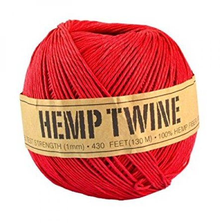 100% Hemp (Red Hemp Twine - 20 LB. Test - 1mm - 430 Feet - 100g - 100% Hemp Fibers)