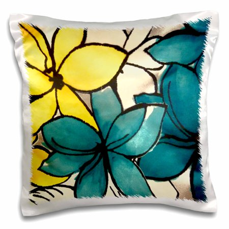 3dRose Teal and Yellow Floral, Pillow Case, 16 by 16-inch