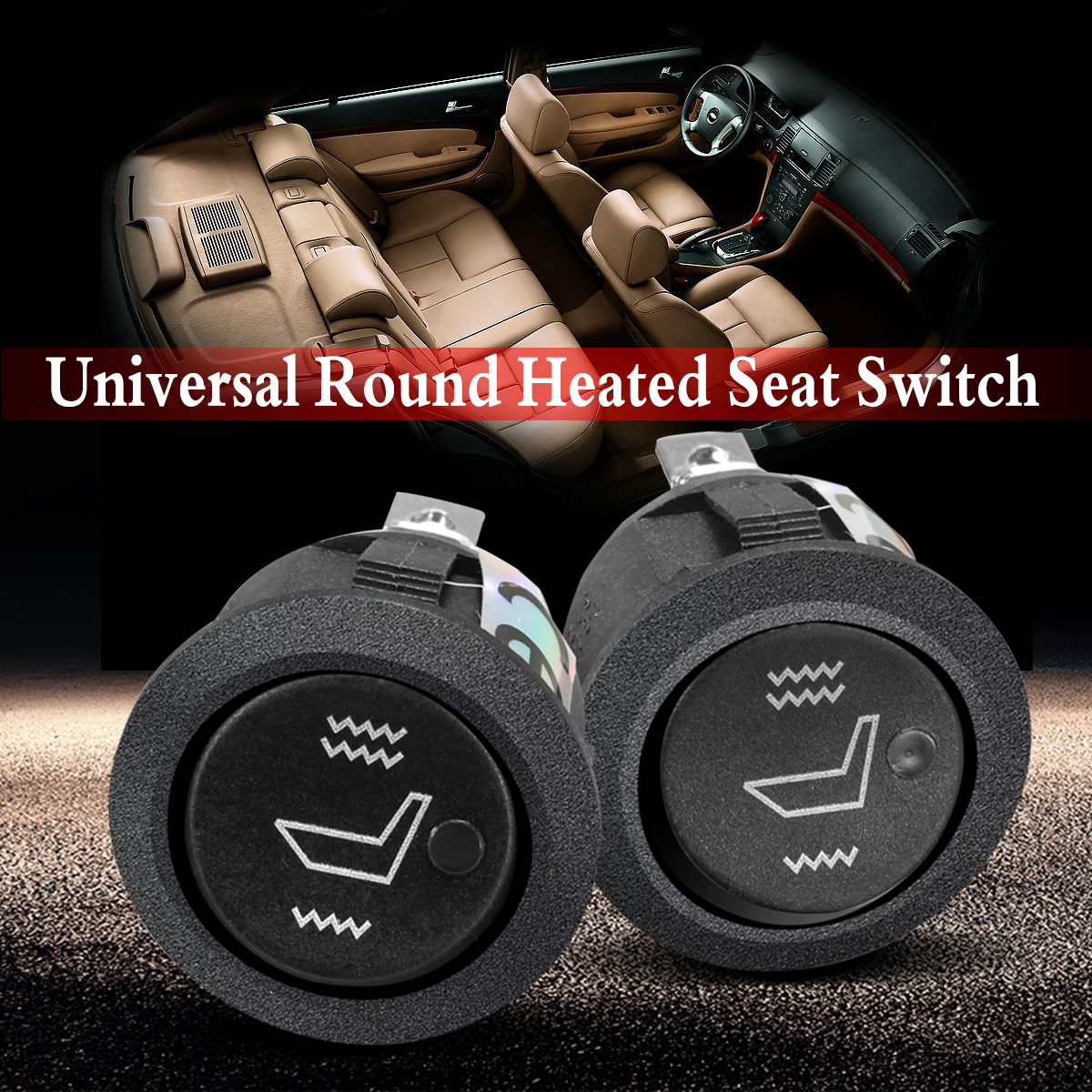 Universal car seat heater,rectangle rocker switch,2 seats,heated seat,car switch