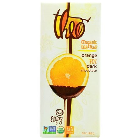 (2 Pack) Theo Chocolate Organic 70% Dark Chocolate Bar Orange 3 oz