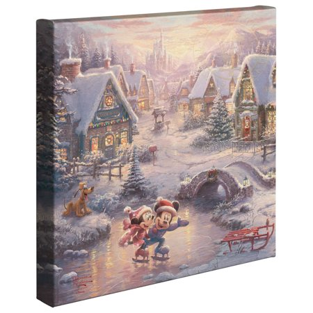"Thomas Kinkade Mickey and Minnie Sweetheart Holiday - 14"" x 14"" Gallery Wrapped Canvas"